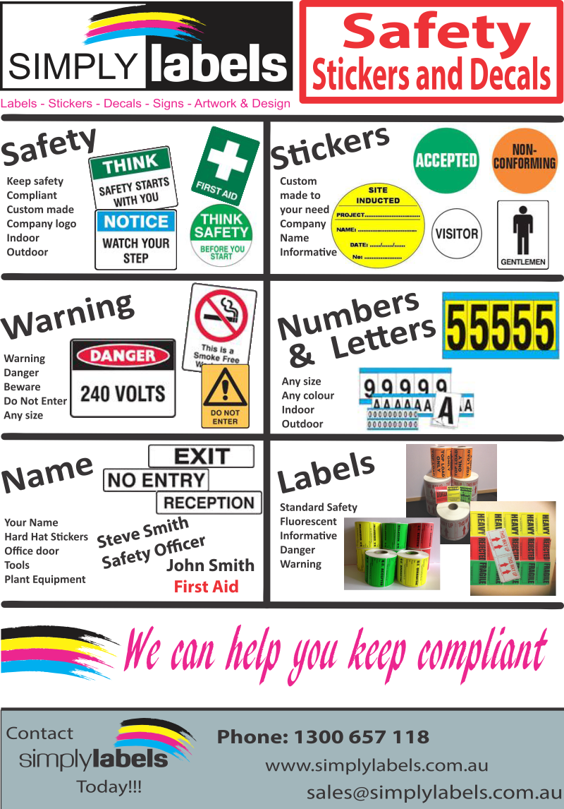 safety fluro stickers & labels